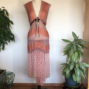 Vintage Rozae Nichols silk dress hi-low flowy S